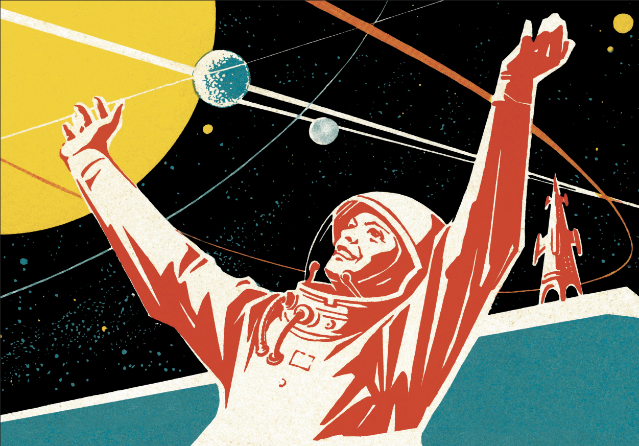 retro astronaut illustration reaching up to embrace the planets and space above